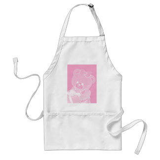 Pale Pink Teddy Bear for Girls Adult Apron