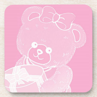 Pale Pink Teddy Bear for Girls Coaster