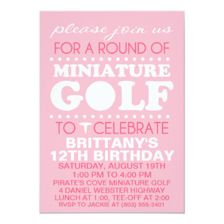 Pale Pink Tee Time Miniature Golf Birthday Party Card