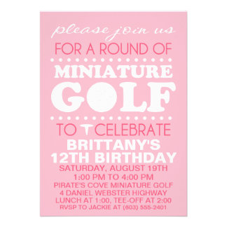 Pale Pink Tee Time Miniature Golf Birthday Party Invite