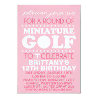 Pale Pink Tee Time Miniature Golf Birthday Party Invitation