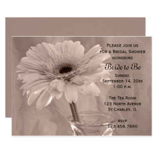Pale Pink Tinted Daisy Bridal Shower Invitation
