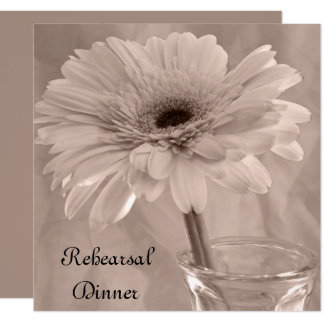 Pale Pink Tinted Daisy Wedding Rehearsal Dinner Card