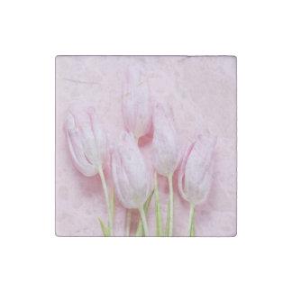 pale pink tulips,digital modern photo,pattern,chic stone magnet