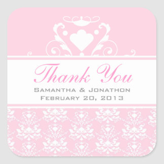 Pale Pink & White Damask Wedding Favor Labels