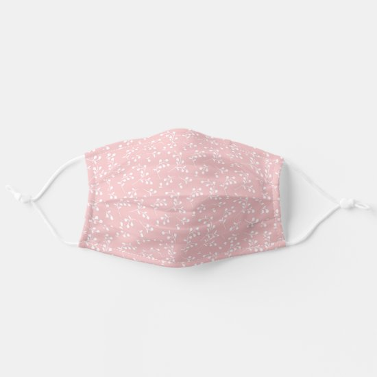 Pale Pink & White Retro Floral Pattern Adult Cloth Face Mask