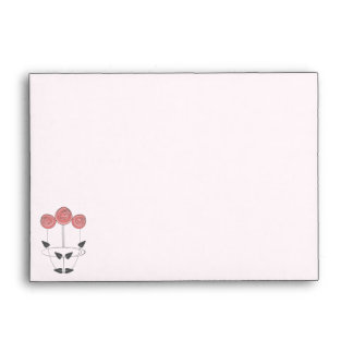 Pale Pink with Art Nouveau Style Roses Envelope