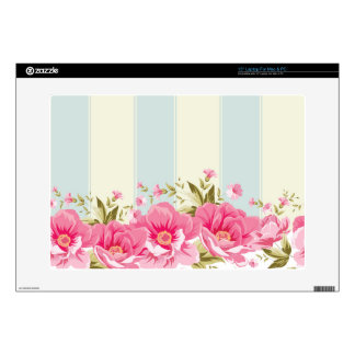pale pink,yellow,shabby chic,floral,vintage,trendy decals for laptops