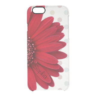 Pale Polka Dot Red Daisy Custom Name Clear iPhone 6/6S Case