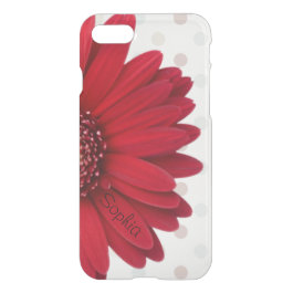 Pale Polka Dot Red Daisy Custom Name iPhone 7 Case