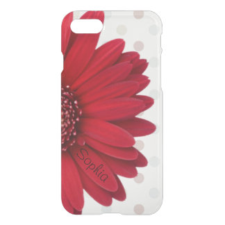 Pale Polka Dot Red Daisy Custom Name iPhone 8/7 Case