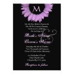 Pale Purple Black White Flower Wedding Invitation
