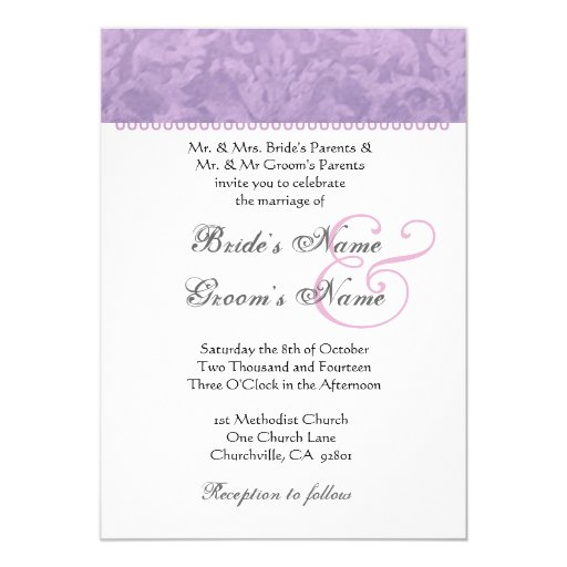 Pale Purple Damask Monogram Metallic Paper Custom Invitation