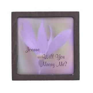 Pale Purple Flower Marry Me Engagement Ring Box