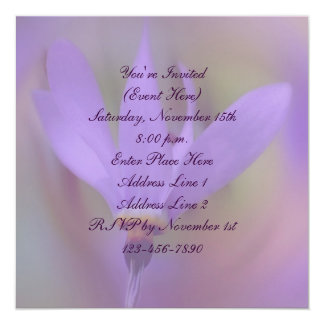 Pale Purple Flower Square Party Invitation