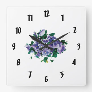 Pale Purple Pansies Square Wall Clocks