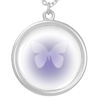 Pale purple stained glass butterfly on white round pendant necklace