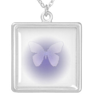 Pale purple stained glass butterfly on white square pendant necklace