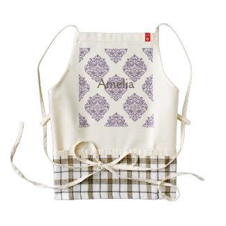 pale purple,vintage damasks,victorian,floral,patte zazzle HEART apron