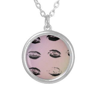 Pale Rainbow Lip Print Necklace