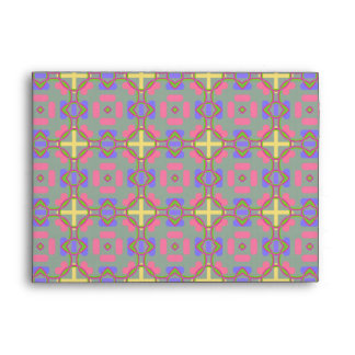 Pale Red, Blue And Yellow Pattern Envelope