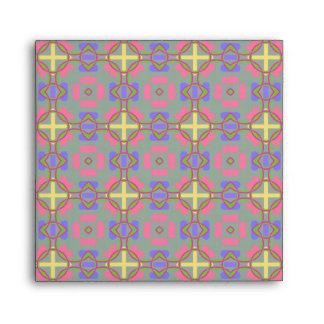 Pale Red, Blue And Yellow Pattern Envelopes