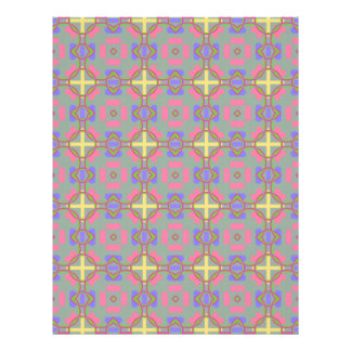 Pale Red, Blue And Yellow Pattern Scrapbook Paper