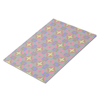 Pale Red, Blue And Yellow Pattern Scrapbook Paper Notepad