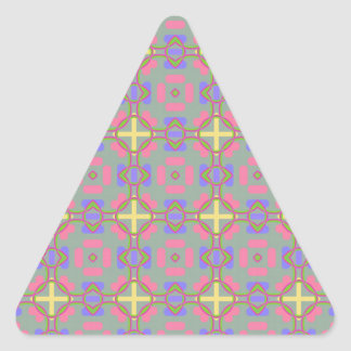 Pale Red, Blue And Yellow Pattern Triangle Sticker