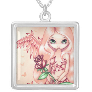 Pale Rose NECKLACE angel fairy fantasy