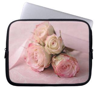 pale roses on pink swirls laptop sleeve