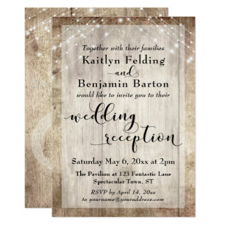 Pale Rustic Wood and Lights Wedding Reception Only Card