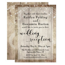 Pale Rustic Wood and Lights Wedding Reception Only Invitation