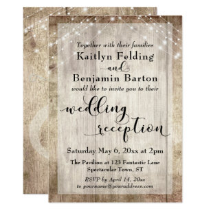 rustic reception wedding invitations zazzle