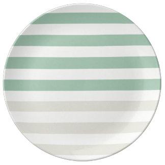 Pale Sage and Mint Stripes Porcelain Plate