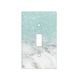 pale sea foam blue faux glitter ombre white marble light switch cover