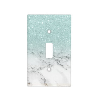 pale sea foam blue faux glitter ombre white marble light switch cover