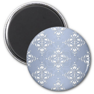 Pale Silvery Blue Damask Magnet