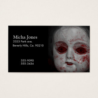 Pale Skin Doll With Blood Red Eyes Business Card