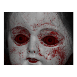 Pale Skin Doll With Blood Red Eyes Postcard