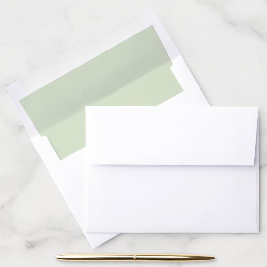 Pale Spring Green Sweetheart Blush Envelope Liner
