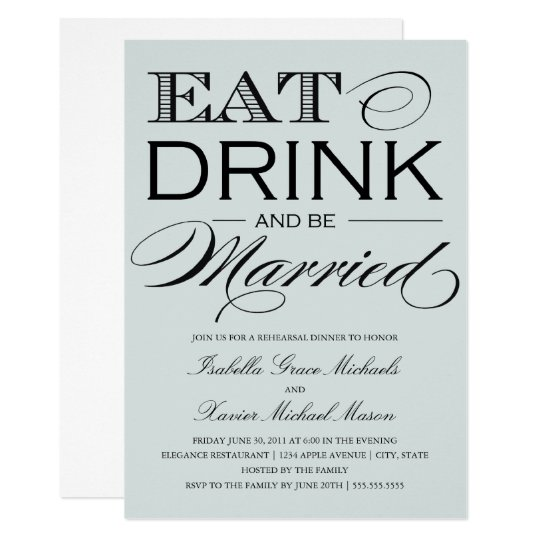 Pale Stone Eat, Drink   Rehearsal Dinner Card