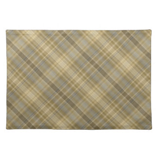Pale straw and grey check pattern cloth placemat