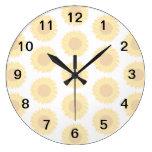 Pale Sunflower Background Pattern. Round Clocks
