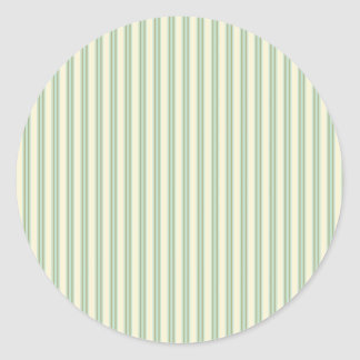 Pale teal and cream stripes classic round sticker