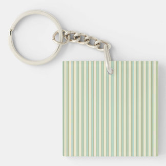 Pale teal and cream stripes Single-Sided square acrylic keychain