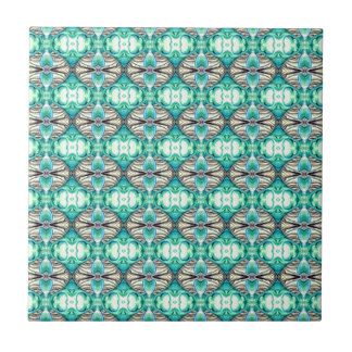 Pale Teal and Peach Fancy Diamond Pattern Ceramic Tile