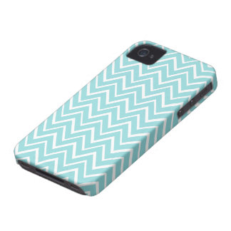 Pale teal aqua whimsical zigzag chevron pattern iPhone 4 covers