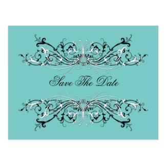Pale Teal Black White Swirls Save The Date Postcard