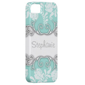 Pale Teal Blue Green with White Roses iPhone 5 Covers